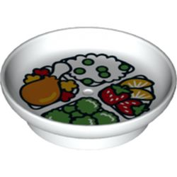 LEGO part 74799 Duplo Dish with Chicken Leg, Rice, Fruit, and Brocolli Print in White