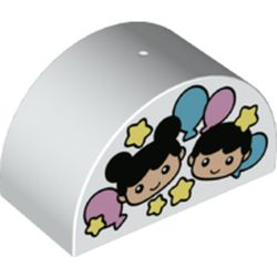LEGO part 74843 Duplo Brick 2 x 4 x 2 Curved Top with Boy and Girl Heads, Balloons, and Stars Print in White