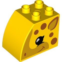 LEGO part 74940 Duplo Brick 2 x 3 x 2 with Curved Top and Dark Orange Spots and Giraffe Face Print in Bright Yellow/ Yellow