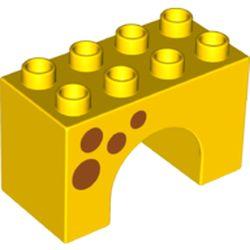 LEGO part 74952 Duplo Brick 2 x 4 x 2 Arch with Dark Orange Spots Print in Bright Yellow/ Yellow