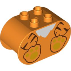 LEGO part 74951 Duplo Brick 2 x 4 x 2 Rounded Ends with Tiger Body and Feet Print in Bright Orange/ Orange