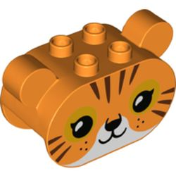LEGO part 74953 Duplo Brick 2 x 4 x 2 Rounded Ends with Ears and Tiger Face Print in Bright Orange/ Orange