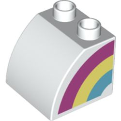 LEGO part 74969 Duplo Brick 2 x 2 x 1 1/2 with Curved Top with Rainbow on Left Side Print in White