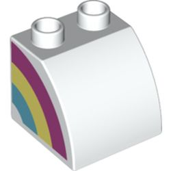 LEGO part 74980 Duplo Brick 2 x 2 x 1 1/2 with Curved Top with Rainbow on Right Side Print in White