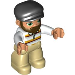 LEGO part 37202pr0127 Duplo Figure with Cap Black, with Beard, Tan Legs, Red and Yellow Striped Shirt Print in White