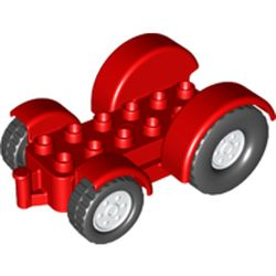 LEGO part 15320c03 Duplo Car Base 2 x 6 Tractor with Mudguards, White Wheels in Bright Red/ Red