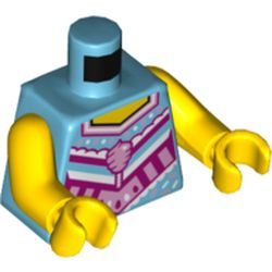 LEGO part 973c01h01pr5393 Torso Vest, Bright Pink and Dark Pink Detailing, Bright Pink Cotton Candy Print. Yellow Arms and Hands in Medium Azure