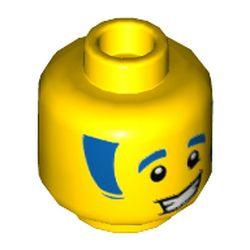 LEGO part 3626cpr3348 Minifig Head Discowboy, Blue Eyebrows and Sideburns Print in Bright Yellow/ Yellow
