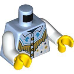 LEGO part 973c27h01pr5394 Torso Shirt, Stars, Horse Heads, Gold Fringe Print, White Arms, Yelow Hands in Light Royal Blue/ Bright Light Blue
