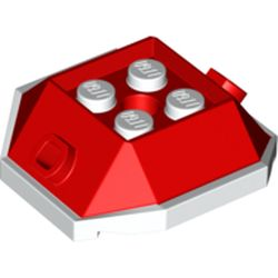 LEGO part 73715 Brick Wedge Sloped 4 x 4 with Pin Holes and White Underside Pattern (Para-Koopa Shell) in Bright Red/ Red