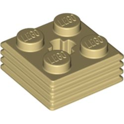 LEGO part 71752 Plate Special 2 x 2 x 2/3 with Axel Hole and Grill on Sides (Haybale) in Brick Yellow/ Tan