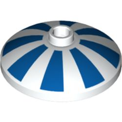 LEGO part 75117 Dish 4 x 4 Inverted with Open Stud [Radar] and Blue Stripes Print in White