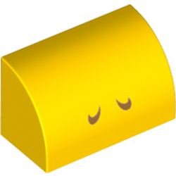 LEGO part 37352pr0010 Brick Curved 1 x 2 x 1 No Studs with Closed Eyes print in Bright Yellow/ Yellow