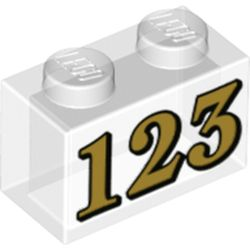 LEGO part 72218 Brick 1 x 2 with Gold '123' print in Transparent/ Trans-Clear