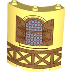 LEGO part 75219 Panel 4 x 4 x 6 Quarter Cylinder with Stain Glass Window, Wood Panels/Beams in Cool Yellow/ Bright Light Yellow