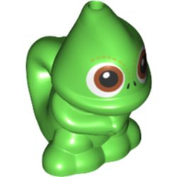 LEGO part 75238 Animal, Chameleon, Standing, Hole on Top and Tail with Brown Eyes Print (Pascal) in Bright Green