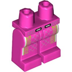 LEGO part 970c00pr2023 Legs and Hips with Lime Decorations Print in Bright Purple/ Dark Pink