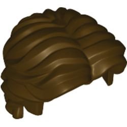 LEGO part 26139 Minifig Hair Short Wavy with Center Part in Dark Brown