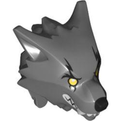 LEGO part 20613pr0003 Minifig Head Special, Werewolf with Yellow Eyes Print in Dark Stone Grey / Dark Bluish Gray