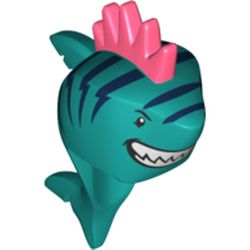 LEGO part 75356pr0001 Minifig Head Special, Shark with Dark Blue Stripes, Grin with Teeth, Coral Spiked Fin Print in Vibrant Coral/ Coral