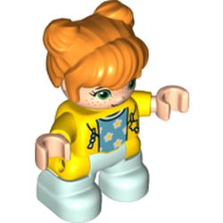 LEGO part 65245pr0049 Duplo Figure Child with Two Buns on Top and Long Bangs Orange, with Light Aqua Legs, Hoodie over Azure Shirt with Stars Print in Bright Yellow/ Yellow