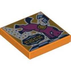 LEGO part 3068bpr0478 Tile 2 x 2 with Bucking Bull print in Bright Orange/ Orange