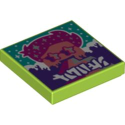LEGO part 3068bpr0480 Tile 2 x 2 with Rainbow Stripes print in Bright Yellowish Green/ Lime