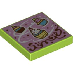 LEGO part 3068bpr0481 Tile 2 x 2 with Cupcake Snow print in Bright Yellowish Green/ Lime