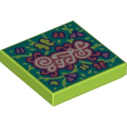 LEGO part 3068bpr0482 Tile 2 x 2 with Butterflies print in Bright Yellowish Green/ Lime