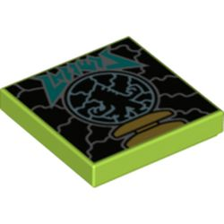 LEGO part 3068bpr0483 Tile 2 x 2 with Electricity print in Bright Yellowish Green/ Lime