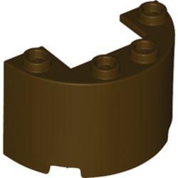 LEGO part 24593 Cylinder Half 2 x 4 x 2 with 1 x 2 Cutout in Dark Brown