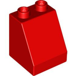 LEGO part 70676 Duplo Brick 2 x 2 x 2 Slope in Bright Red/ Red