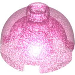 LEGO part 40528 Brick Round 2 x 2 Dome Top - Hollow Stud with Bottom Axle Holder x Shape + Orientation in Transparent Medium Reddish Violet with Opalescence/ Satin Trans-Dark Pink
