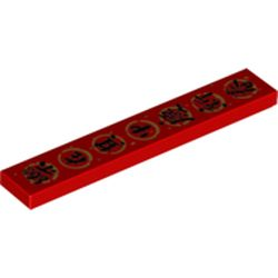 LEGO part  Tile 1 x 6 with Black Mandarin 'Enjoy yourself in the celebration of New Year' in Gold Circle print in Bright Red/ Red