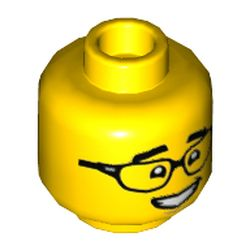 LEGO part  Minifig Head with Black Glasses, Thick Eyebrows print in Bright Yellow/ Yellow