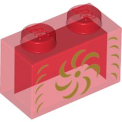 LEGO part  Brick 1 x 2 without Bottom Tube with Gold Decorations print in Transparent Red/ Trans-Red