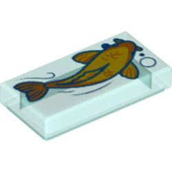 LEGO part  Tile 1 x 2 with Yellow/Orange Koi print in Transparent Light Blue/ Trans-Light Blue