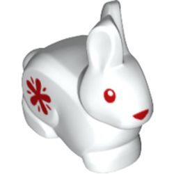 LEGO part  Animal, Rabbit / Bunny with Red Nose / Eyes, Red Star on Side print in White
