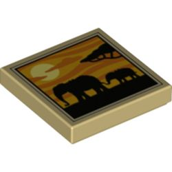 LEGO part 3068bpr0445 Tile 2 x 2 with Elephants Silhouette, Sunset print in Brick Yellow/ Tan