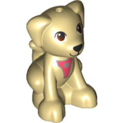 LEGO part 75511pr0001 Animal, Dog, Sitting with Coral Straps (Seeing Eye Dog) in Brick Yellow/ Tan
