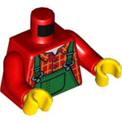 LEGO part 76382 Torso Plaid Shirt with Green Overalls Print, Red Arms, Yellow Hands in Bright Red/ Red