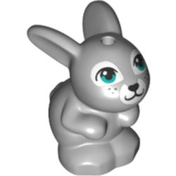 LEGO part 75518 Animal, Rabbit / Bunny Sitting with Dark Turquoise Eyes and White Nose and Mouth Print in Medium Stone Grey/ Light Bluish Gray
