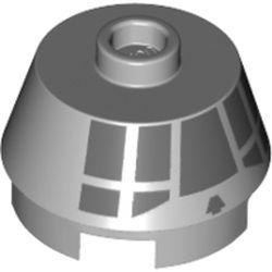 LEGO part 75540 Brick Round 2 x 2 Truncated Cone with Dark Bluish Gray Squares Print (Millenium Falcon Cockpit) in Medium Stone Grey/ Light Bluish Gray