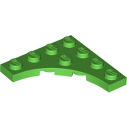 LEGO part 35044 Plate Special 4 x 4 with Curved Cutout in Bright Green
