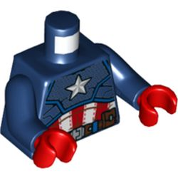 LEGO part 76382 Torso Armor with White Star on Chest Print (Captain America), Dark Blue Arms, Red Hands in Earth Blue/ Dark Blue