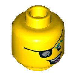 LEGO part 3626cpr3392 Minifig Head Punk Pirate, Dark Turquoise Eyebrow, Eyepatch with Skull, Open Mouth with Tongue Sticking Out Print in Bright Yellow/ Yellow