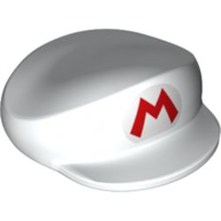 LEGO part 74999 Hat, Large, with Red Mario Logo Print in White