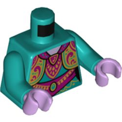 LEGO part 973c46h39pr5405 Torso Tunic, Layered, Ornate Gold and Dark Pink Decorations Print, Dark Turquoise Arms, Lavender Hands in Bright Bluish Green/ Dark Turquoise