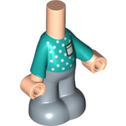 LEGO part 75618 Microdoll Body Pants with Dark Turquoise Shirt, Light Bluish Grey Legs in Sand Blue