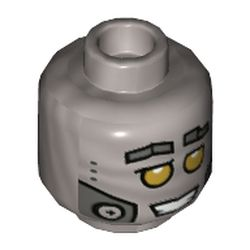 LEGO part 3626cpr3389 Minifig Head Hiphop Robot, Yellow Eyes, Metal Plates, Open Mouth with Clenched Teeth Print in Silver Metallic/ Flat Silver